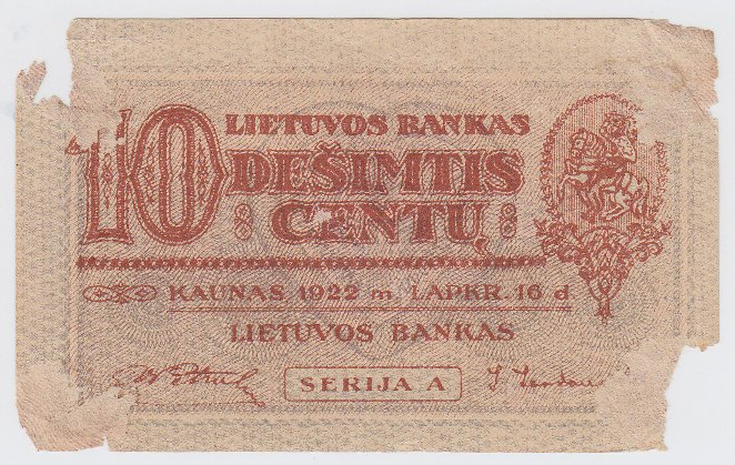 Banknotas. 10 centų. 1922 m. lapkričio 16 d. Lietuva