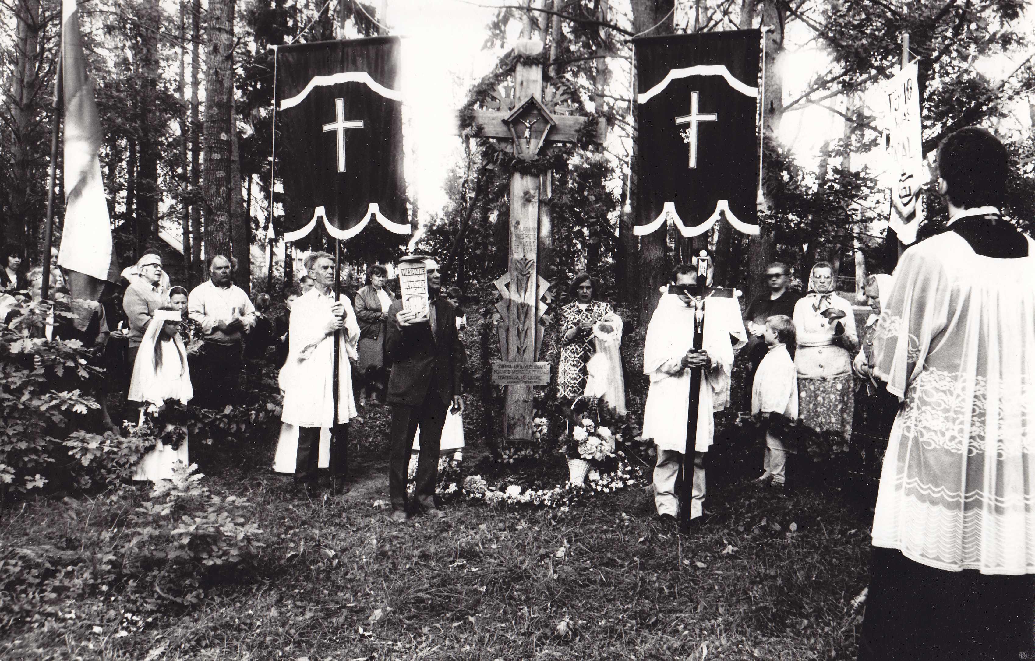 1989 metų birželio 14-oji Pasvalio parke. Kryžiaus partizanams atidengimas. Prie Lietuvos Respublikos valstybės vėliavos stovi tremtinys, fotografas, tautodailininkas Vilhelmas Janiselis