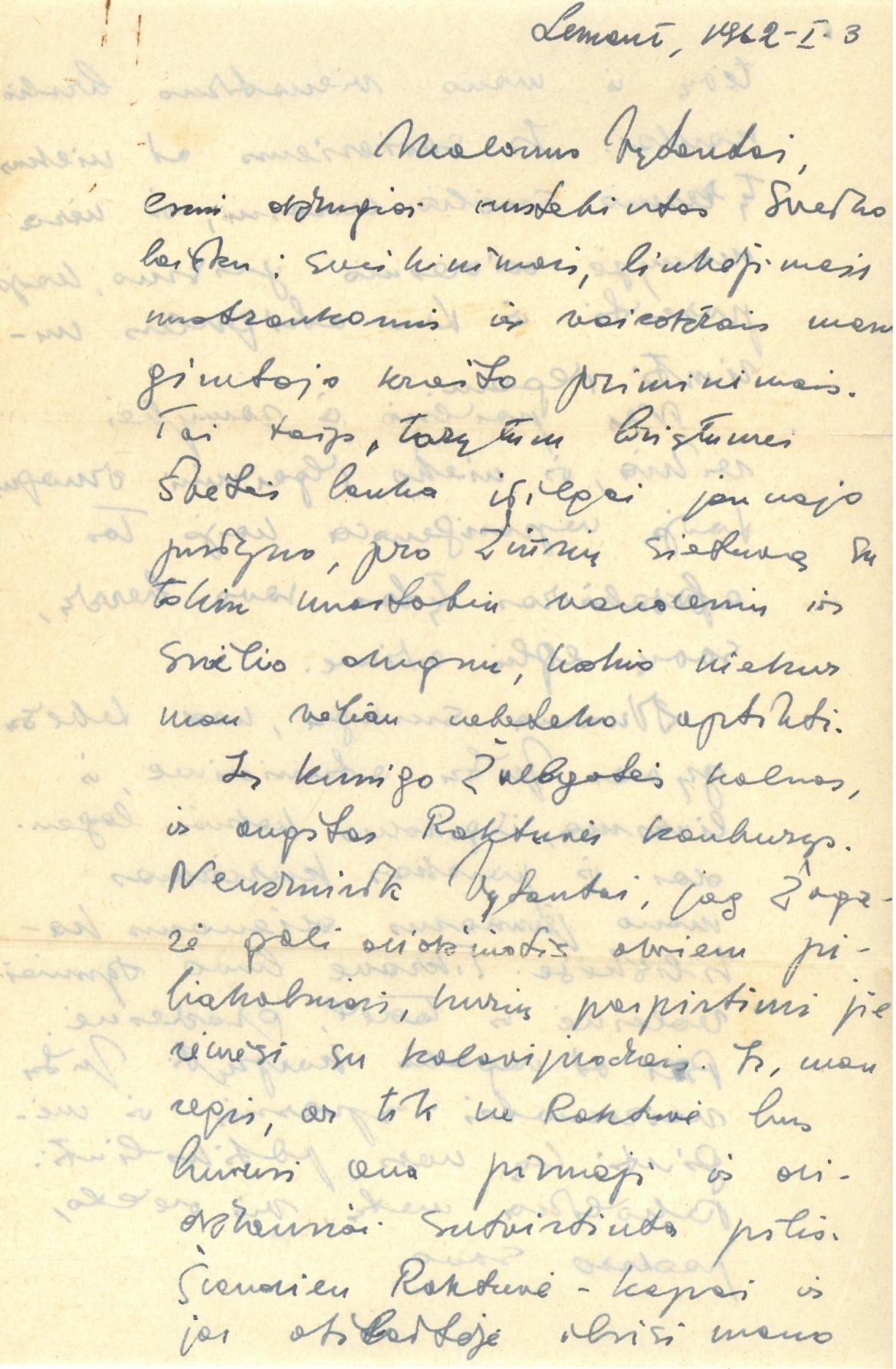 Mariaus Katiliškio 1962 m. sausio 1 d. laiškas sūnėnui Vytautui Vaitkui