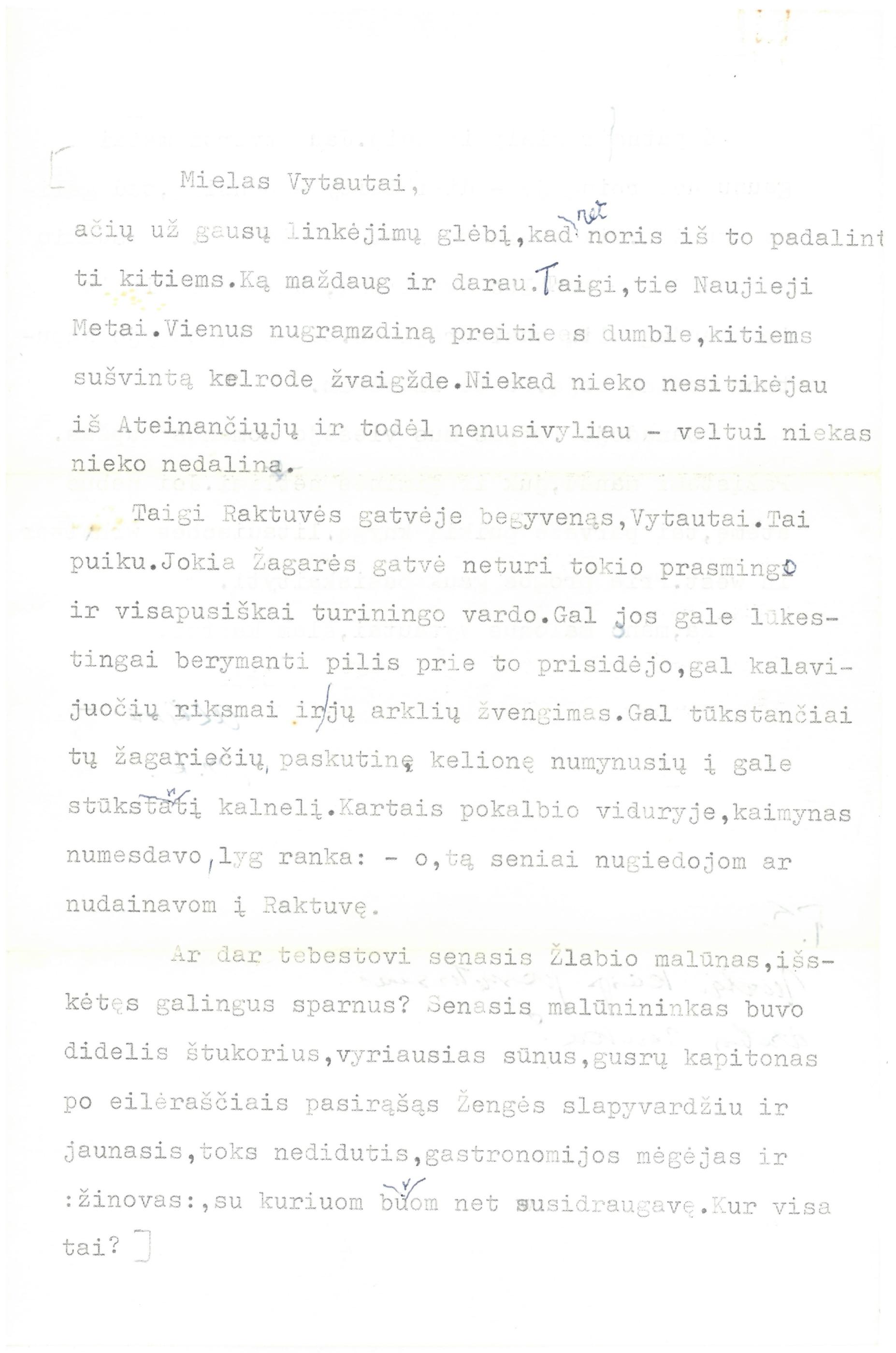 Mariaus Katiliškio 1980 m. sausio 25 d. laiškas sūnėnui Vytautui Vaitkui
