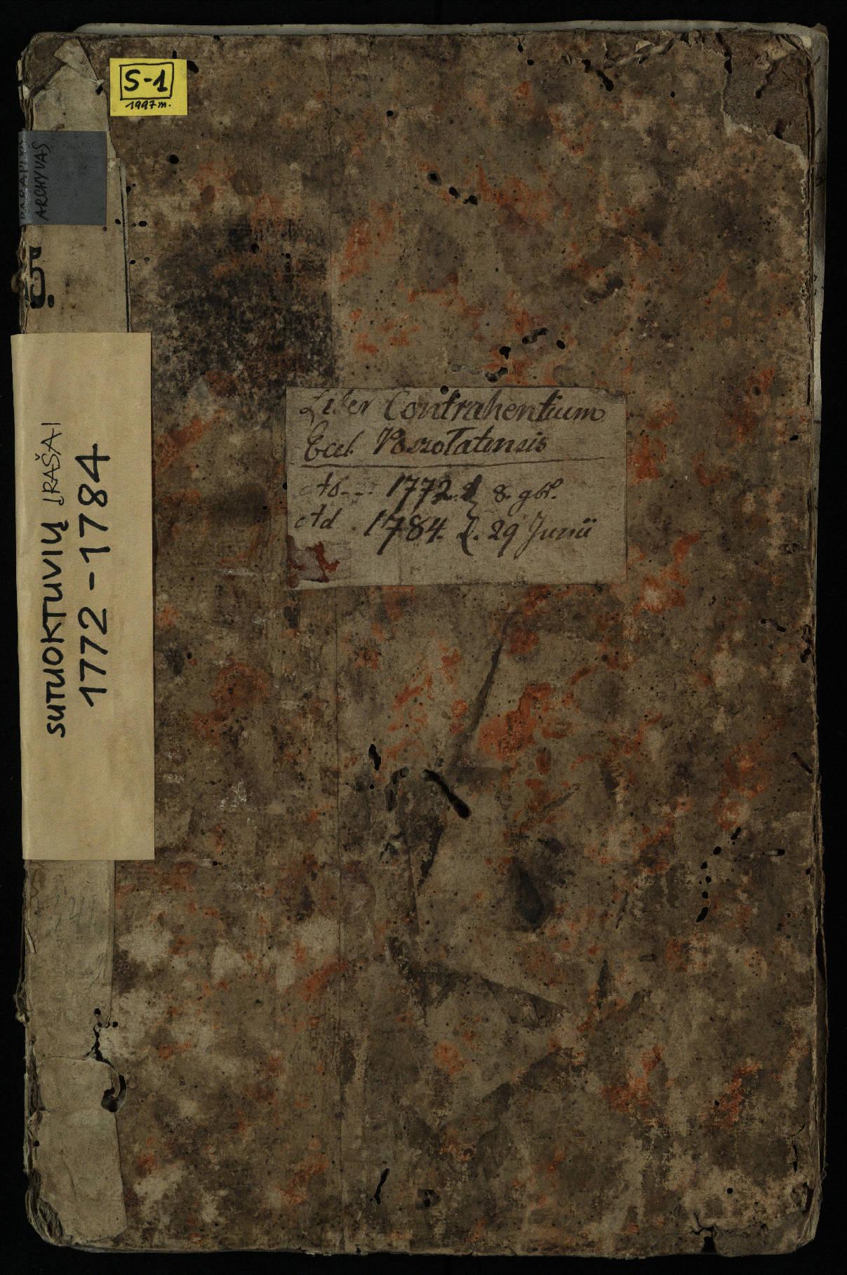 Pušaloto Romos katalikų parapijos bažnyčios 1772–1784 metų jungtuvių metrikų knyga