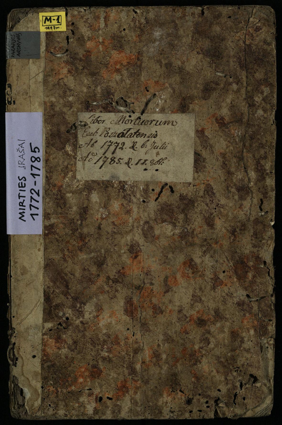 Pušaloto Romos katalikų parapijos bažnyčios 1772–1785 metų mirties metrikų knyga