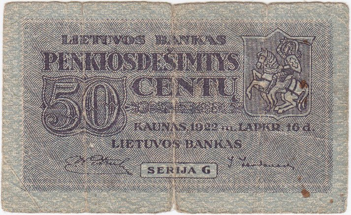 Banknotas. 50 centų. 1922 m. lapkričio 16 d. Lietuva