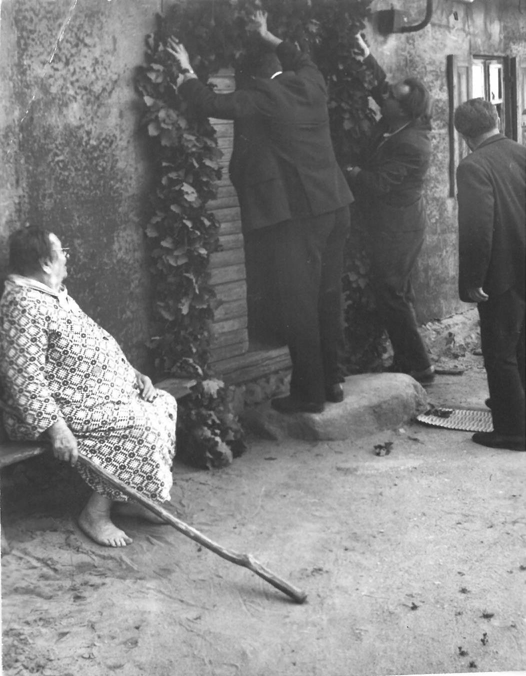 Kabinamas Petrinių vainikas ant Vasinauskų namo durų