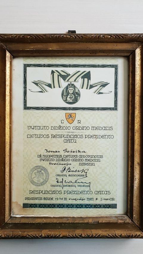 Lietuvos Respublikos Prezidento aktas Jonui Šešeikai gavus LR Vytauto Didžiojo ordino medalį, 1938 m.