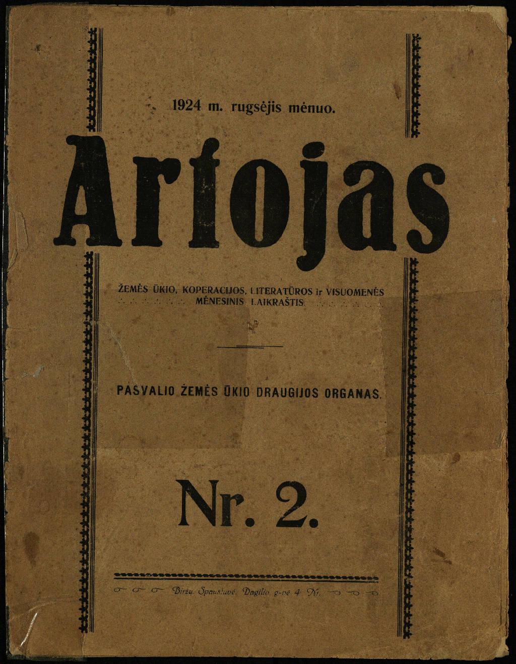 Artojas. 1924, nr. 2