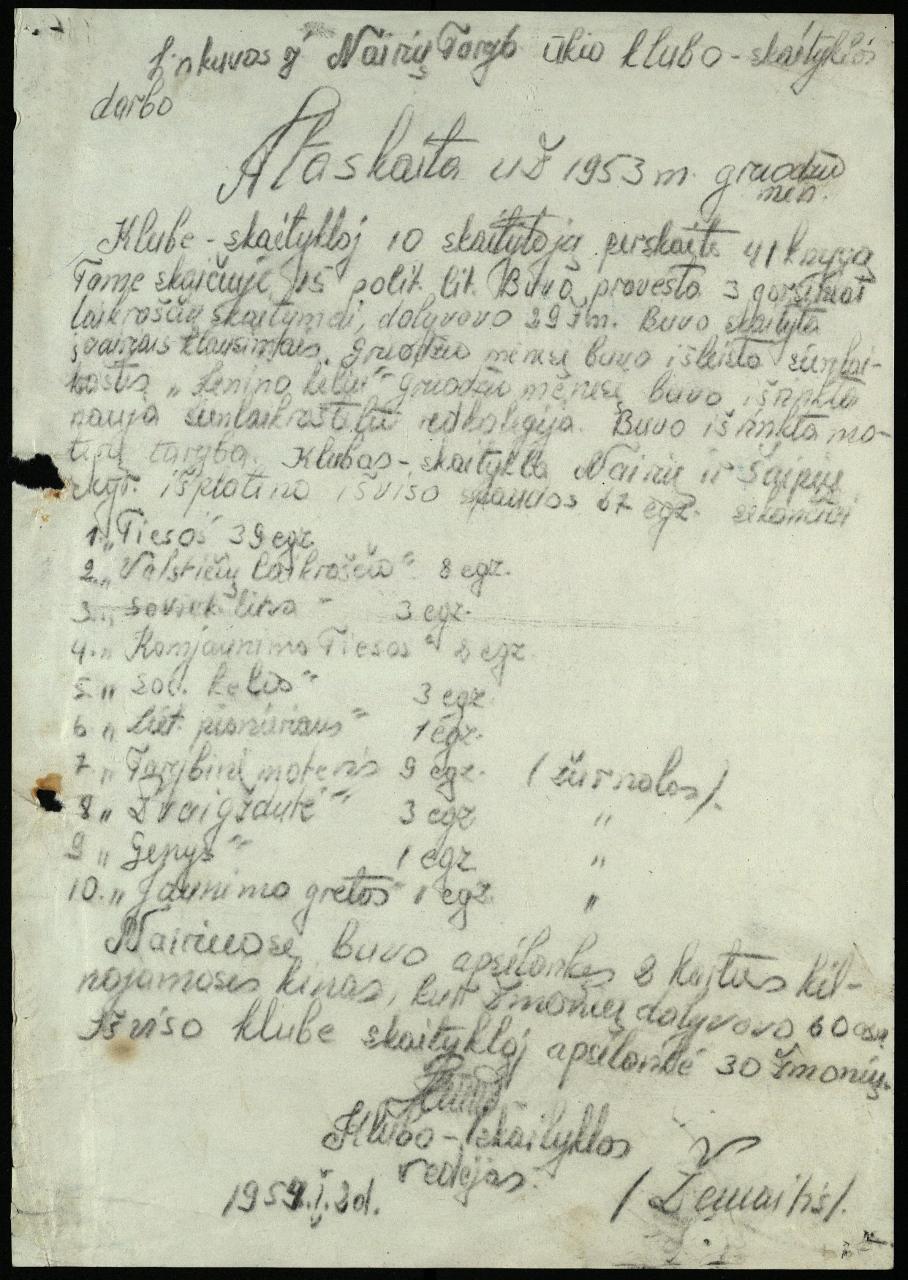 Linkuvos r. Nairių Tarybinio ūkio klubo-skaityklos darbo ataskaita (tekstinė), 1953 m. gruodžio mėn.