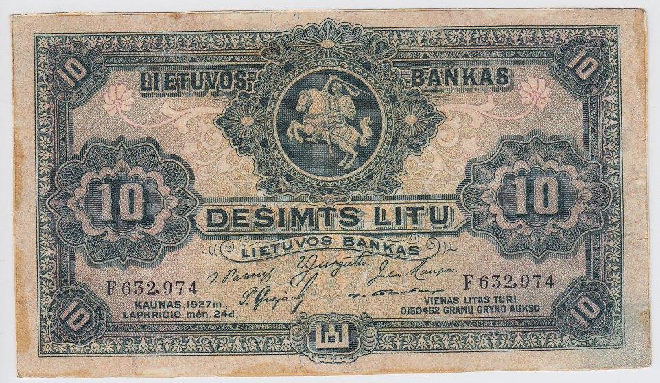 Banknotas. 10 litų. 1927 m. lapkričio 24 d. Lietuva