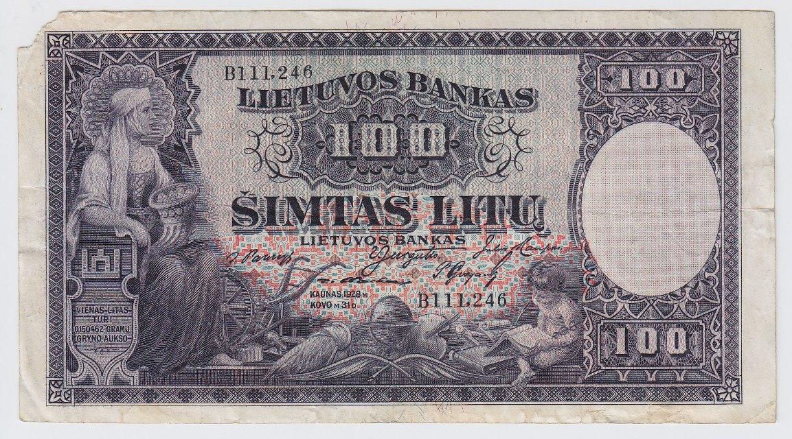 Banknotas. 100 litų. 1928 m. kovo 31 d. Lietuva