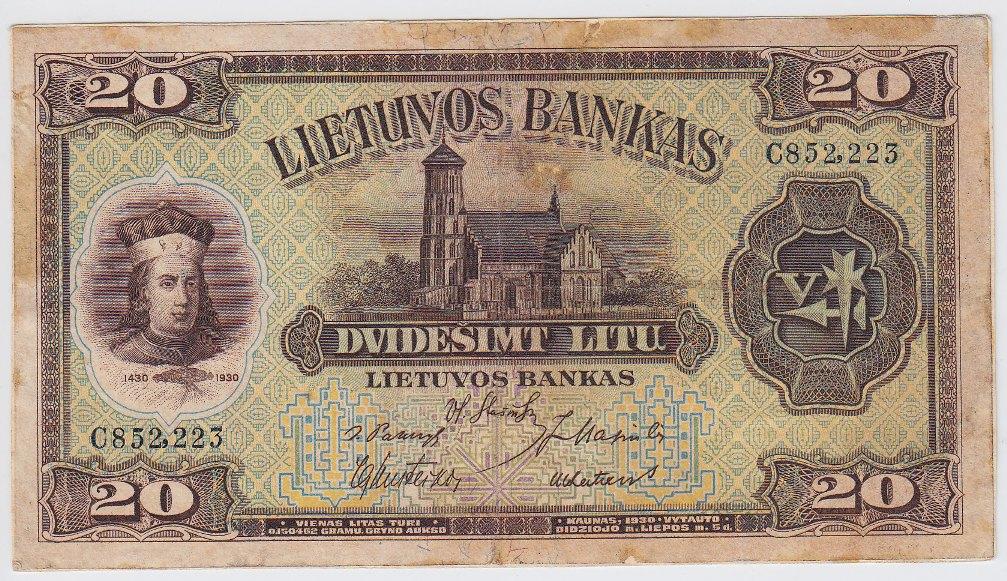 Banknotas. 20 litų. 1930 m. liepos 5 d. Lietuva