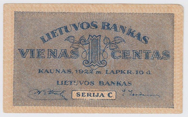 Banknotas. 1 centas. 1922 m. lapkričio 16 d. Lietuva