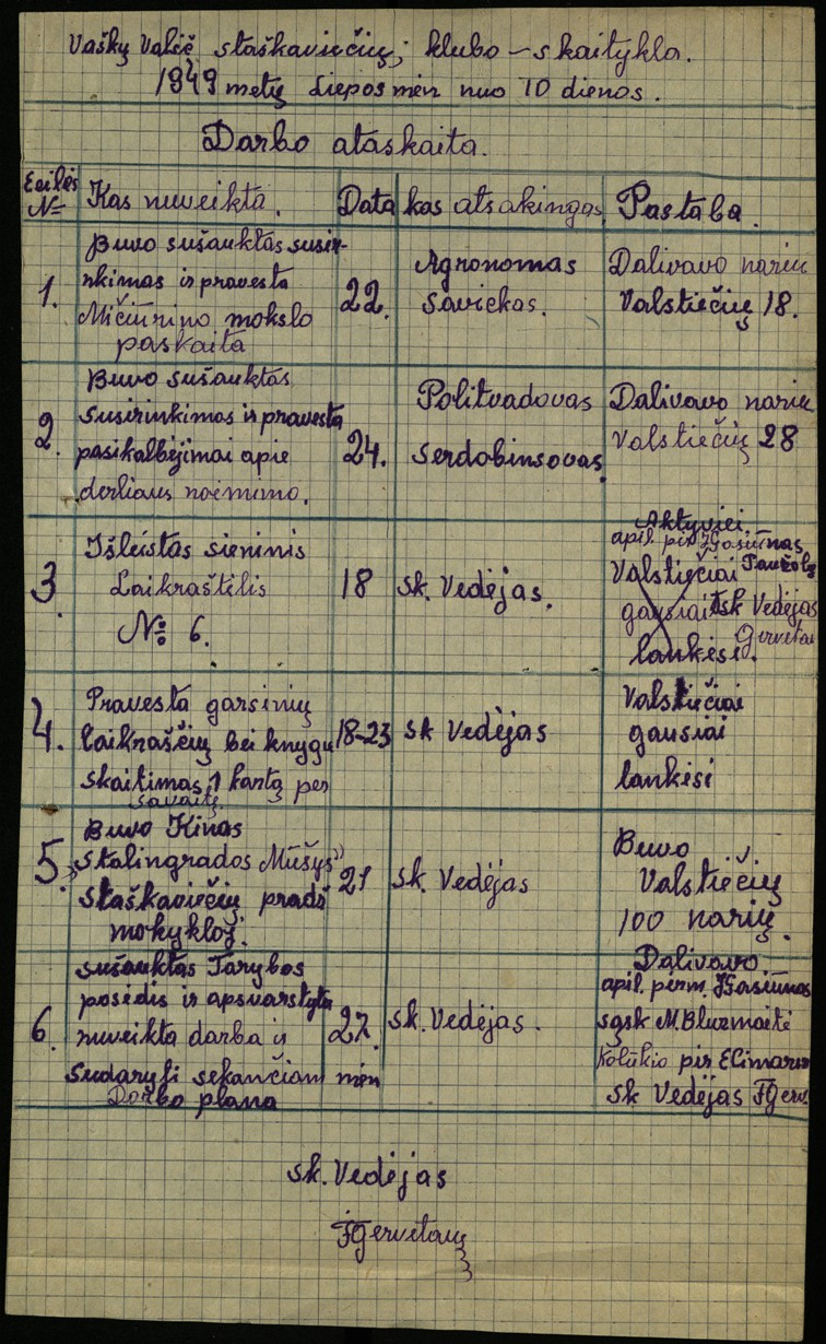 Vaškų vlsč. Staškavičių k. klubo-skaityklos darbo ataskaita, nuo 1949 m. liepos 10 d.