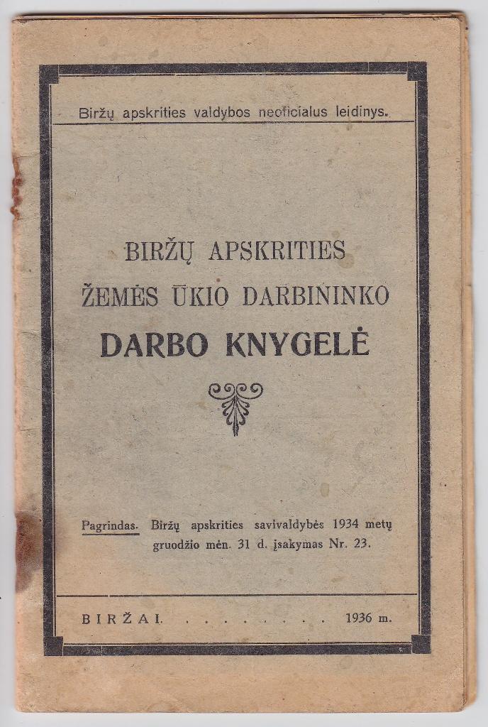 Barboros Venslavaitės darbo knygelė