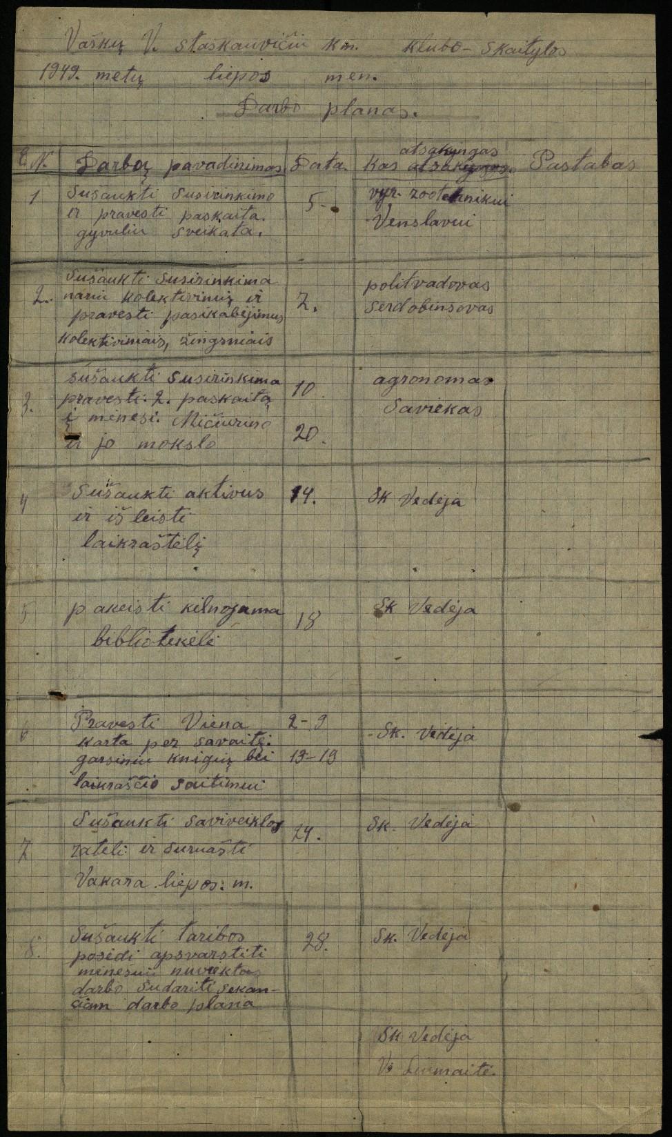 Vaškų vlsč. Staškavičių k. klubo-skaityklos darbo planas, 1949 m. liepos mėn.