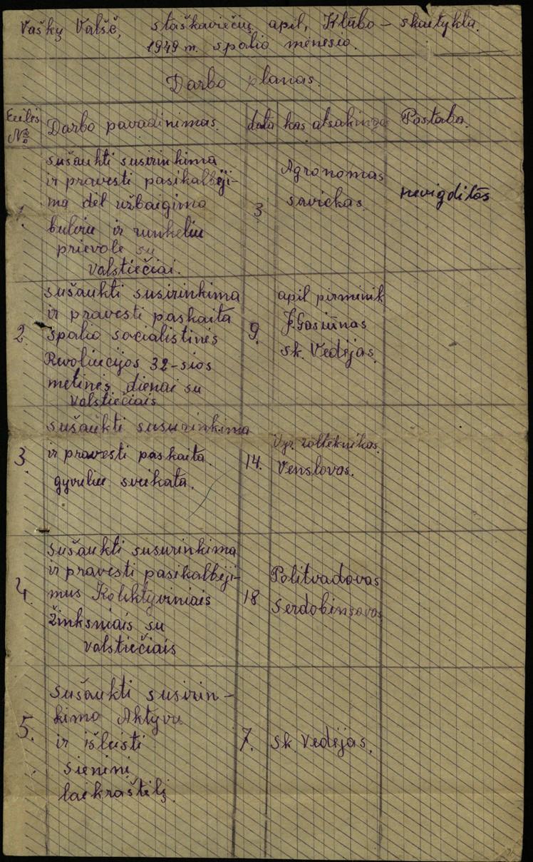 Vaškų vlsč. Staškavičių k. klubo-skaityklos darbo planas, 1949 m. spalio mėn.