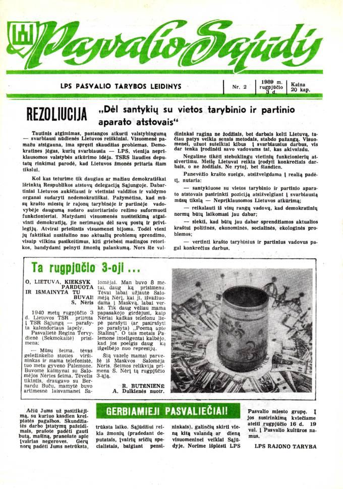 Pasvalio Sąjūdis: LPS Pasvalio Tarybos leidinys. 1989, nr. 2, rugpjūčio 3