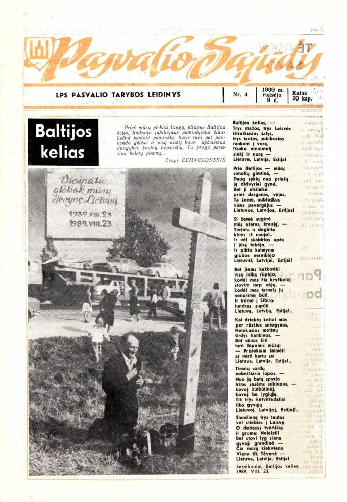 Pasvalio Sąjūdis: LPS Pasvalio Tarybos leidinys. 1989, nr. 4, rugsėjo 9