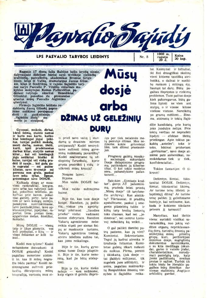 Pasvalio Sąjūdis: LPS Pasvalio Tarybos leidinys. 1989, nr. 5, rugsėjo 29