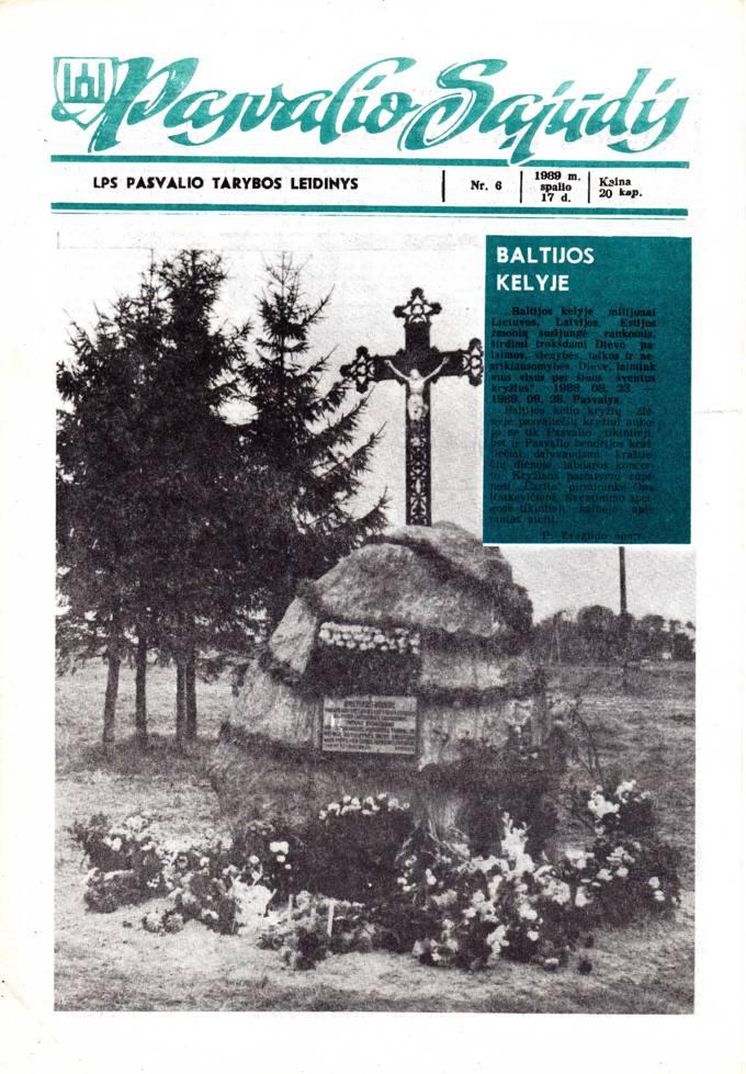 Pasvalio Sąjūdis: LPS Pasvalio Tarybos leidinys. 1989, nr. 6, spalio 17
