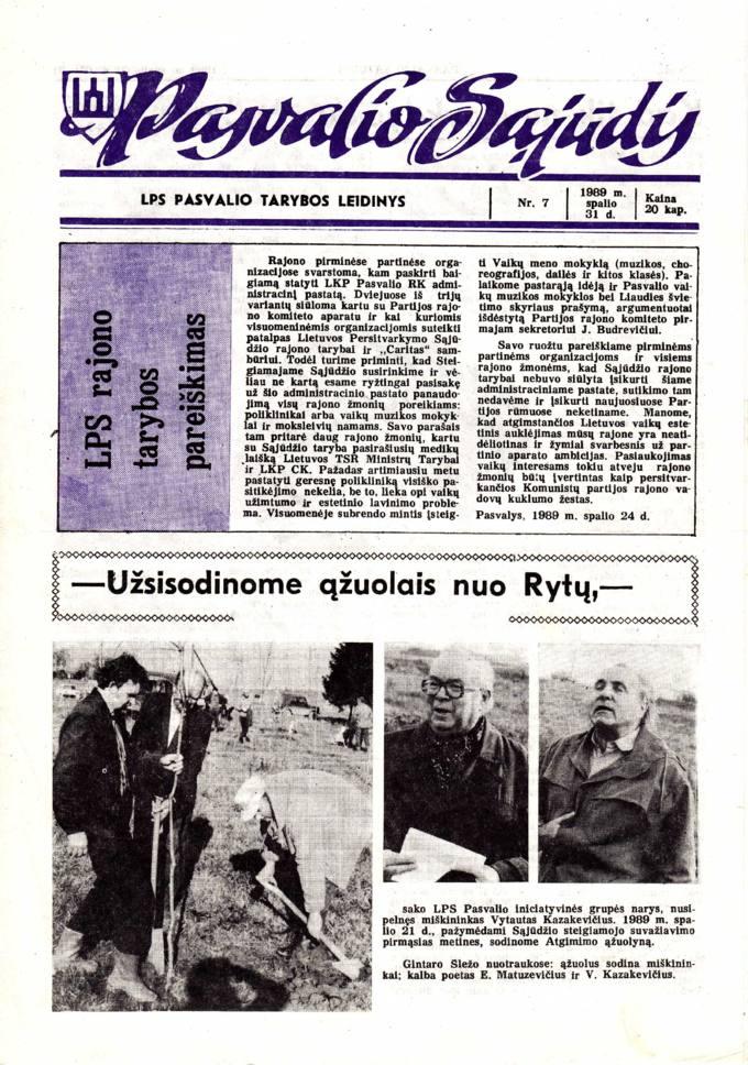 Pasvalio Sąjūdis: LPS Pasvalio Tarybos leidinys. 1989, nr. 7, spalio 31