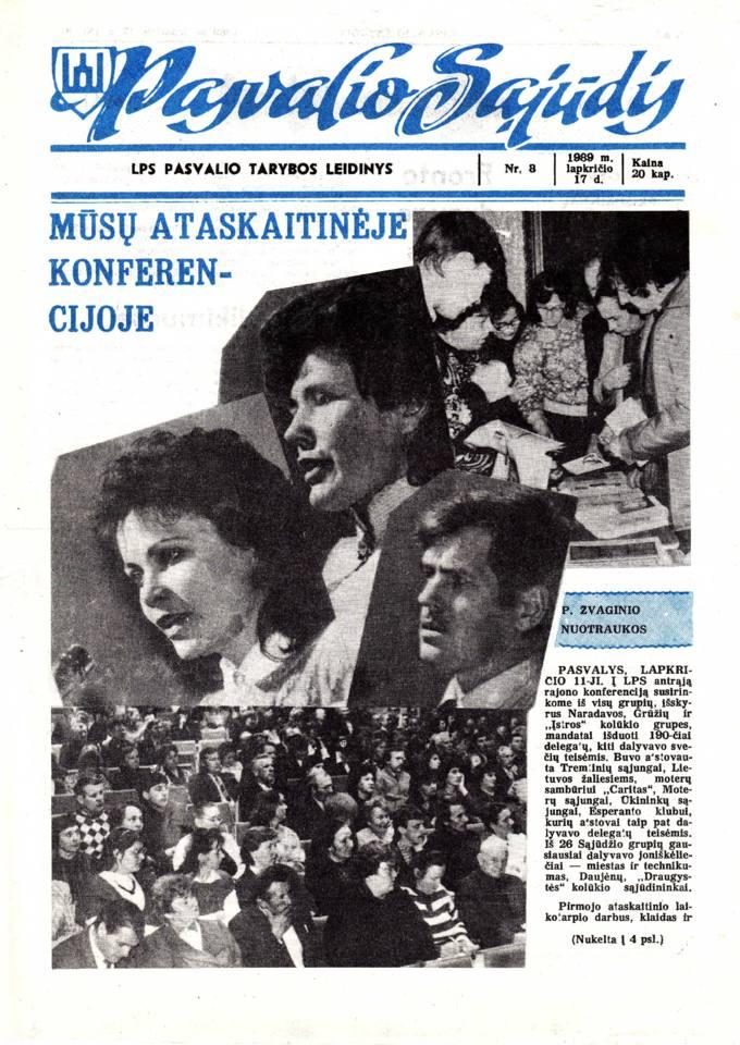 Pasvalio Sąjūdis: LPS Pasvalio Tarybos leidinys. 1989, nr. 8, lapkričio 17