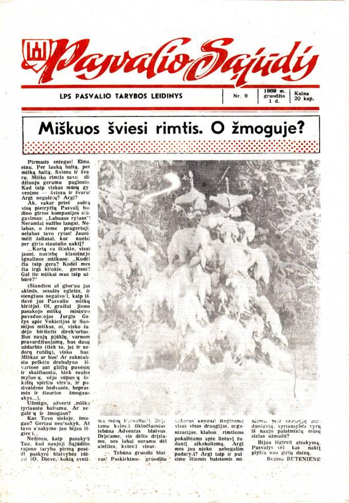 Pasvalio Sąjūdis: LPS Pasvalio Tarybos leidinys. 1989, nr. 9, gruodžio 1