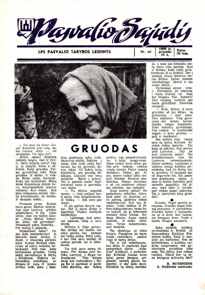 Pasvalio Sąjūdis: LPS Pasvalio Tarybos leidinys. 1989, nr. 10, gruodžio 16