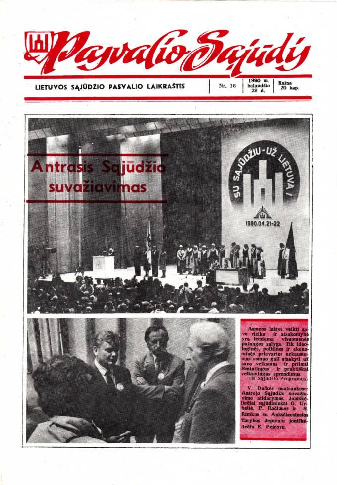 Pasvalio Sąjūdis: Lietuvos Sąjūdžio Pasvalio laikraštis. 1990, nr. 16, balandžio 28