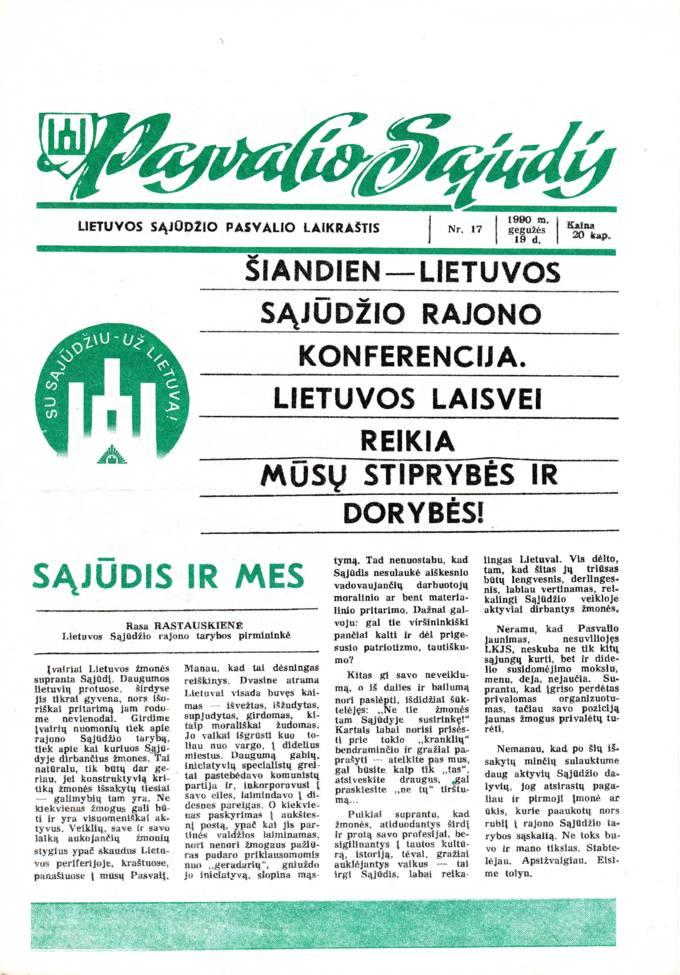 Pasvalio Sąjūdis: Lietuvos Sąjūdžio Pasvalio laikraštis. 1990, nr. 17, gegužės 19