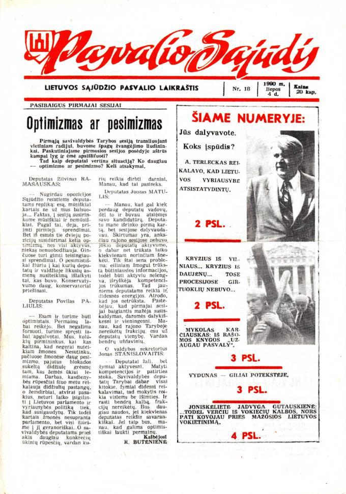 Pasvalio Sąjūdis: Lietuvos Sąjūdžio Pasvalio laikraštis. 1990, nr. 18, liepos 4