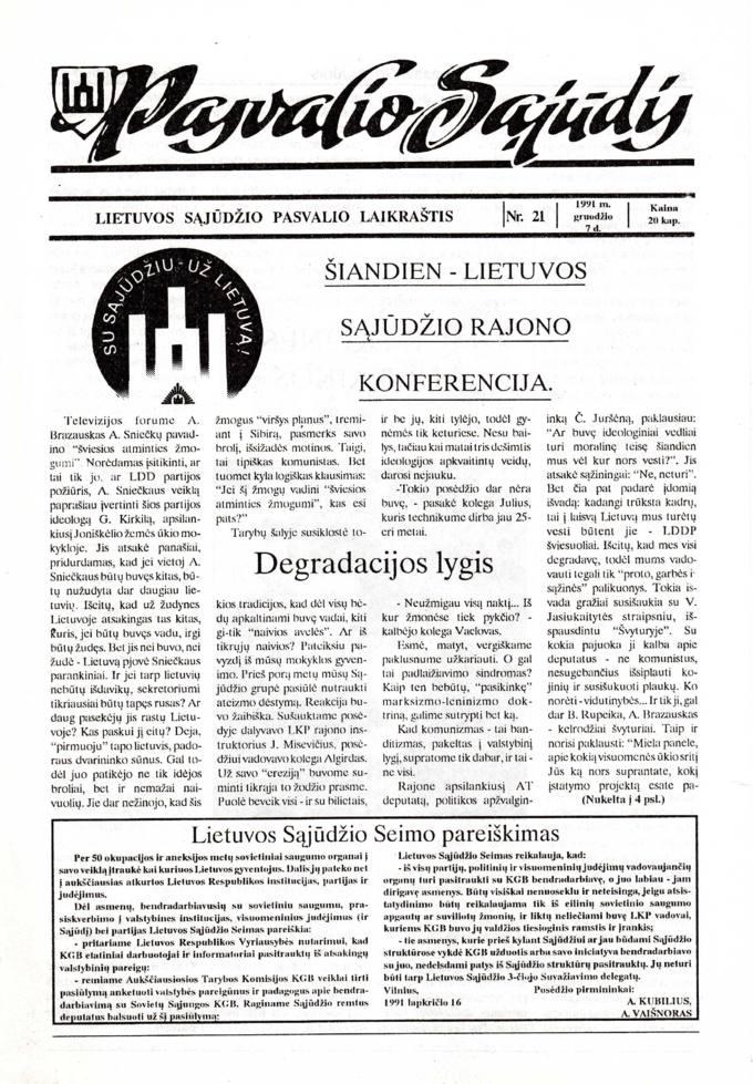 Pasvalio Sąjūdis: Lietuvos Sąjūdžio Pasvalio laikraštis. 1991, nr. 21, gruodžio 7
