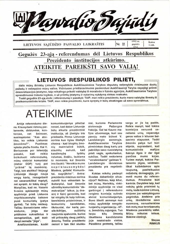 Pasvalio Sąjūdis: Lietuvos Sąjūdžio Pasvalio laikraštis. 1992, nr. 22, gegužės 19