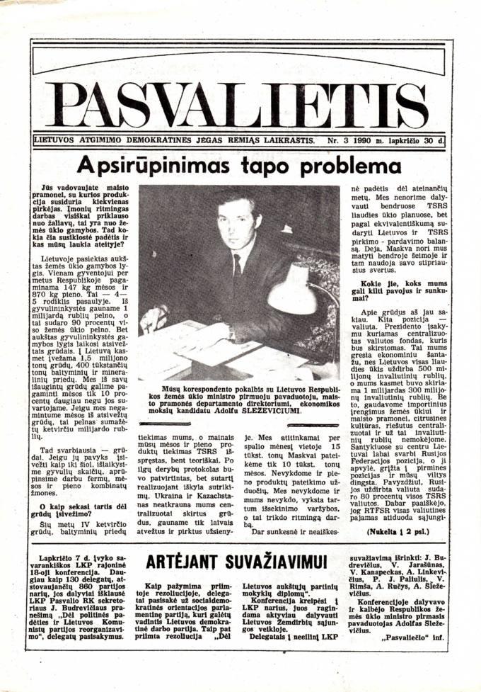 Pasvalietis: Lietuvos atgimimo demokratines jėgas remiąs laikraštis. 1990, nr. 3, lapkričio 30