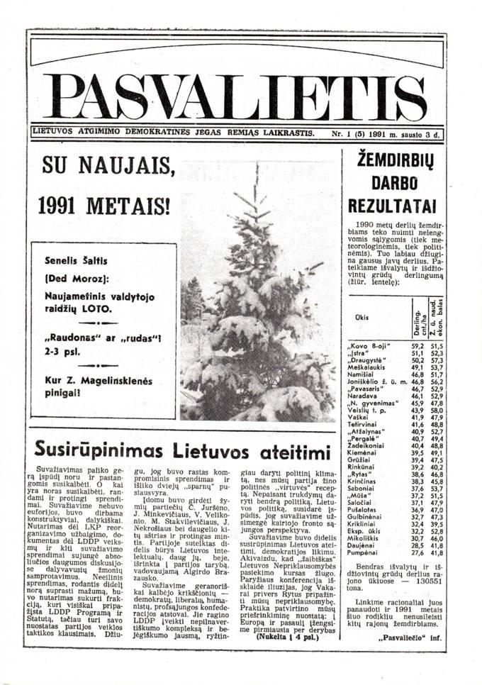 Pasvalietis: Lietuvos atgimimo demokratines jėgas remiąs laikraštis. 1991, nr. 1 (5), sausio 3