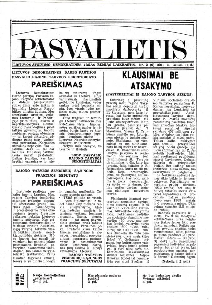 Pasvalietis: Lietuvos atgimimo demokratines jėgas remiąs laikraštis. 1991, nr. 2 (6), sausio 30