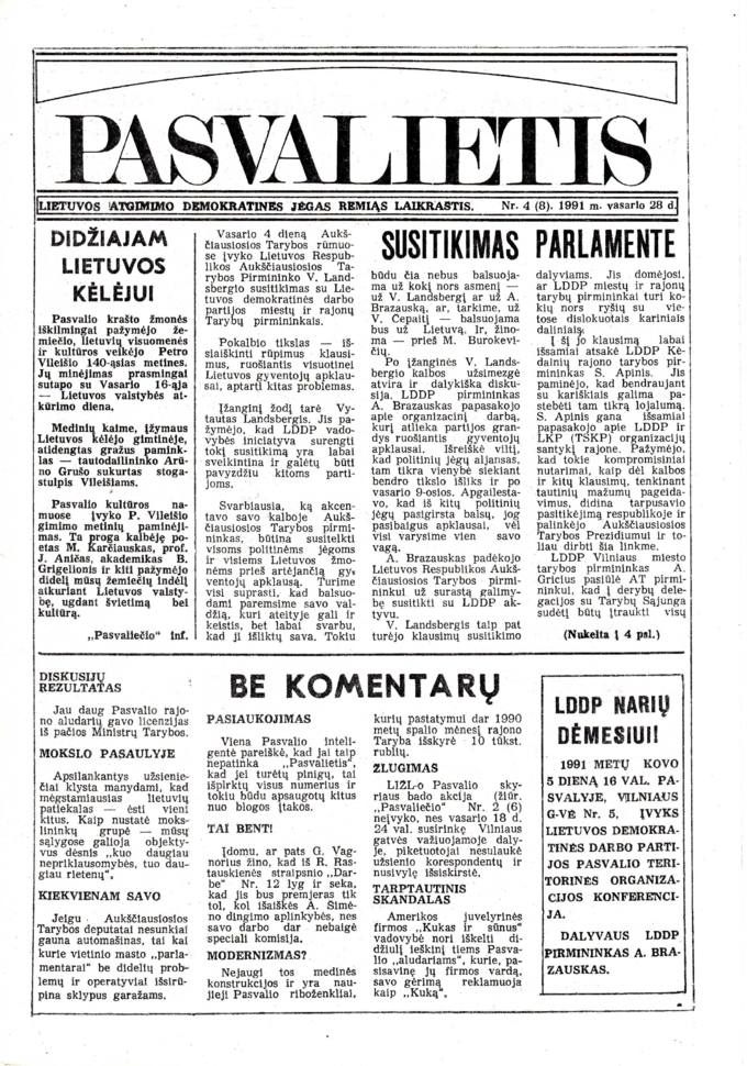 Pasvalietis: Lietuvos atgimimo demokratines jėgas remiąs laikraštis. 1991, nr. 4 (8), vasario 28