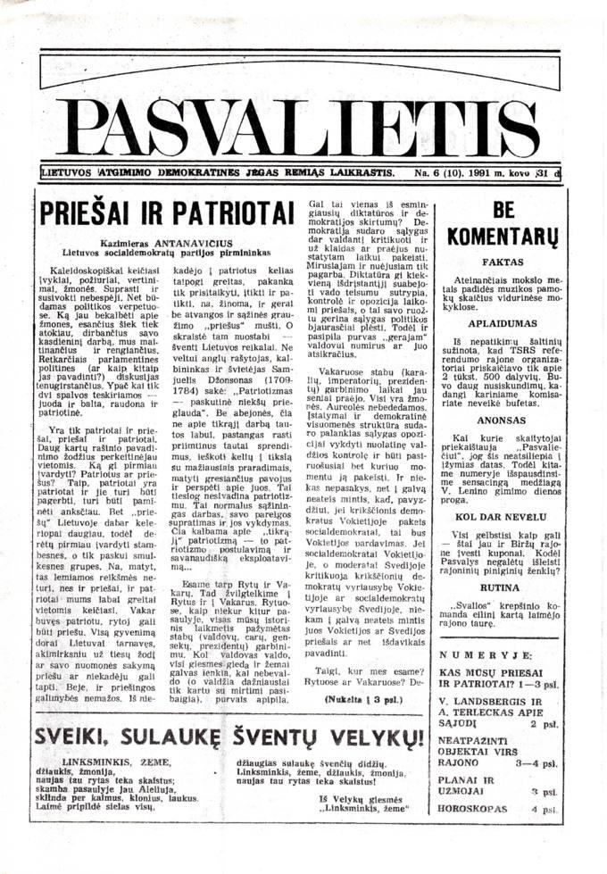 Pasvalietis: Lietuvos atgimimo demokratines jėgas remiąs laikraštis. 1991, nr. 6 (10), kovo 31