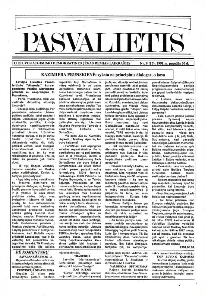 Pasvalietis: Lietuvos atgimimo demokratines jėgas remiąs laikraštis. 1991, nr. 9 (13), gegužės 30