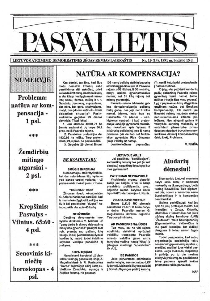 Pasvalietis: Lietuvos atgimimo demokratines jėgas remiąs laikraštis. 1991, nr. 10 (14), birželio 15