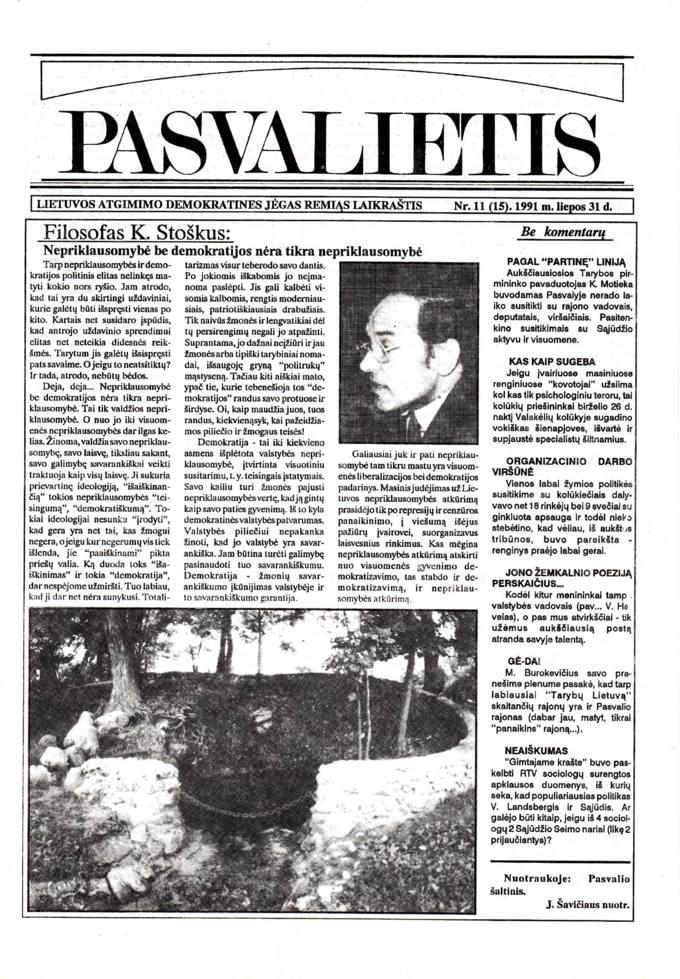 Pasvalietis: Lietuvos atgimimo demokratines jėgas remiąs laikraštis. 1991, nr. 11 (15), liepos 31