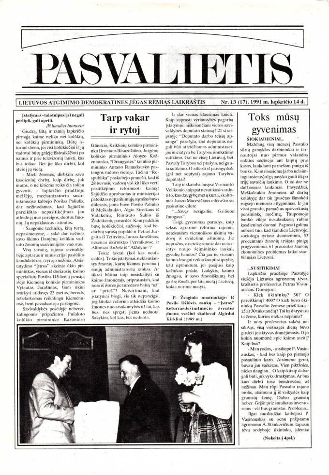 Pasvalietis : Lietuvos atgimimo demokratines jėgas remiąs laikraštis. 1991, nr. 13 (17), lapkričio 14