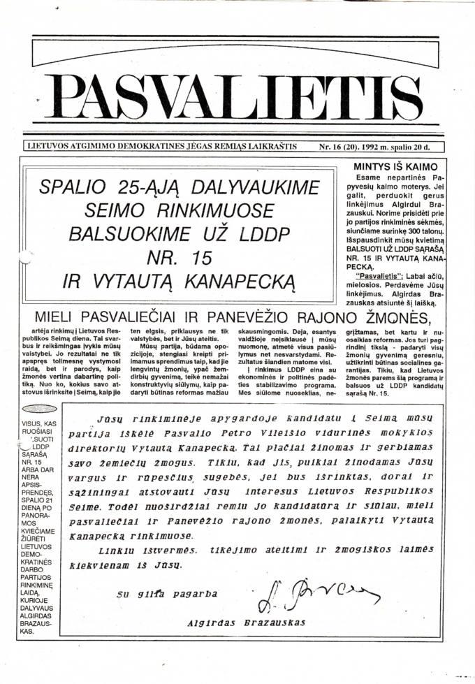 Pasvalietis : Lietuvos atgimimo demokratines jėgas remiąs laikraštis. 1992, nr. 16 (20), spalio 20