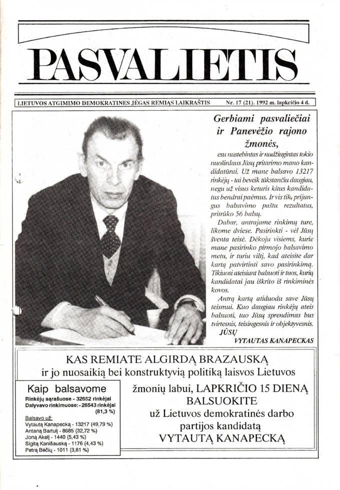 Pasvalietis : Lietuvos atgimimo demokratines jėgas remiąs laikraštis. 1992, nr. 17 (21), lapkričio 4