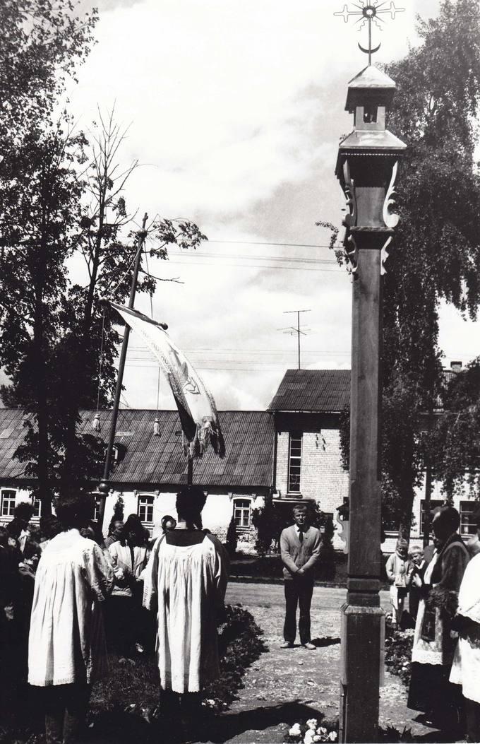 Koplytstulpio atidengimas prie Skrebotiškio mokyklos