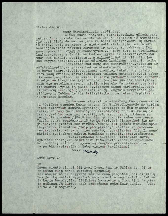 Bernardo Brazdžionio 1966 m. kovo 14 d. laiškas Juozui Poviloniui