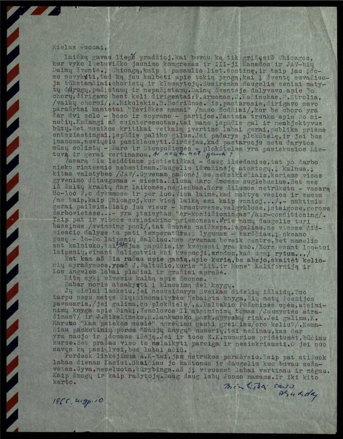 Bernardo Brazdžionio 1966 m. rugpjūčio 10 d. laiškas Juozui Poviloniui