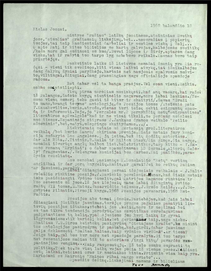 Bernardo Brazdžionio 1968 m. balandžio 18 d. laiškas Juozui Poviloniui