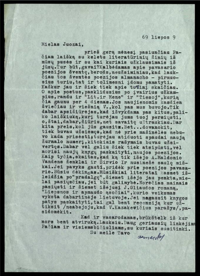 Bernardo Brazdžionio 1969 m. liepos 9 d. laiškas Juozui Poviloniui