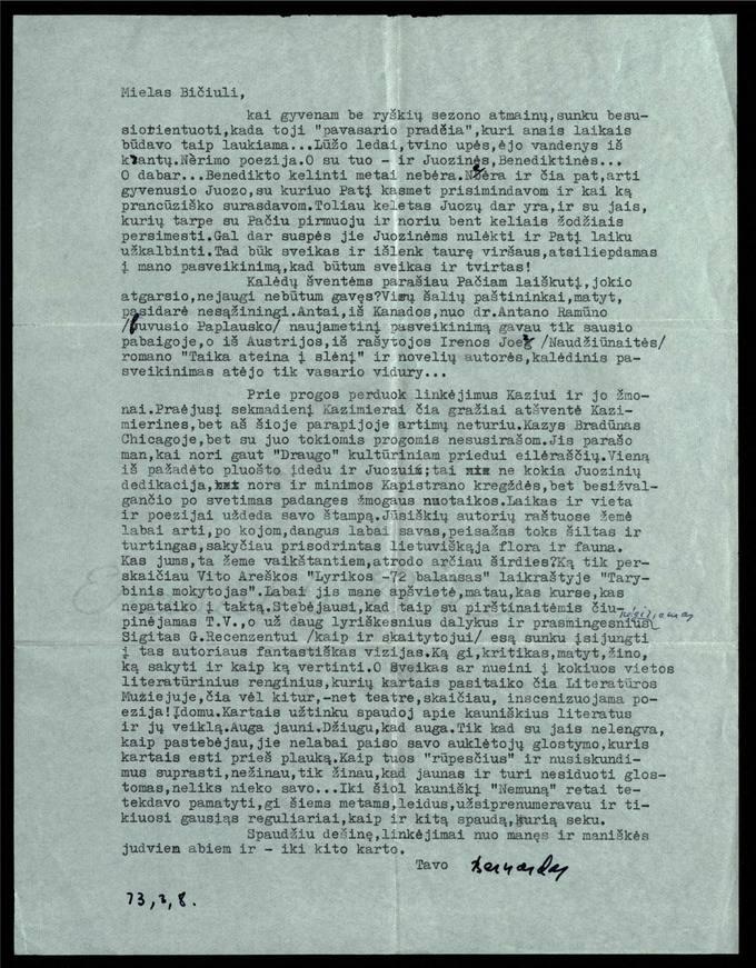 Bernardo Brazdžionio 1973 m. kovo 8 d. laiškas Juozui Poviloniui