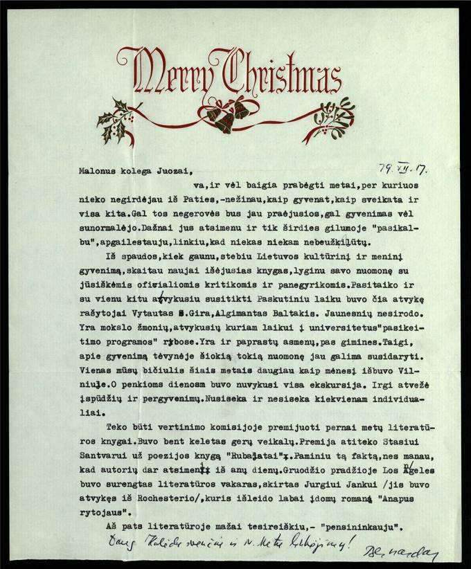 Bernardo Brazdžionio 1979 m. gruodžio 17 d. laiškas Juozui Poviloniui